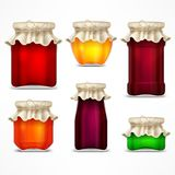 Set of jars with jam and retro lid Royalty Free Stock Photo