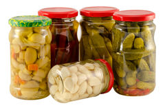 Set jars of pickled vegetables for winter resource Stock Photo