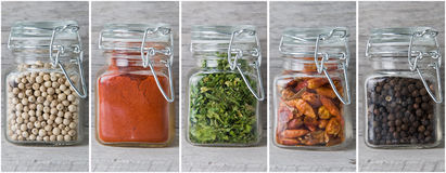 A set of jars with spices. Royalty Free Stock Photography