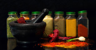 A set of jars with spices Stock Photos
