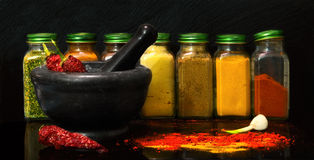 A set of jars with spices Stock Images
