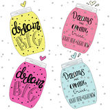 Set of jars with text, stars and bubbles. Lettering. Dream big. Set of jars with text, stars and bubbles. Hand drawn quote lettering. Yellow, pink, blue, rose Royalty Free Stock Photography