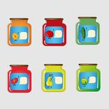 Set jars with tinned vegetables and fruits Royalty Free Stock Photography