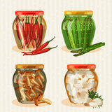 Set of jars with vegetables. Stock Photo