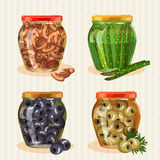 Set of jars with vegetables. Royalty Free Stock Photo