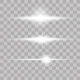 Set jarzeniowi lekkiego skutka gwiazd wybuchy z błyska na przejrzystym tle wektor Zdjęcia Stock