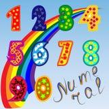 Set jaskrawe postacie dla dzieci od zero dziewięć Tęcza, plakat dla preschoolers Zdjęcie Royalty Free
