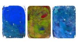 Set jaskrawe zamazane abstrakcjonistyczne tekstury Kolorowi handmade tła z odciskami, plamy, scuffed tereny ilustracja wektor