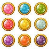 Set Jaskrawi matrycujący kryształów guziki ilustracji
