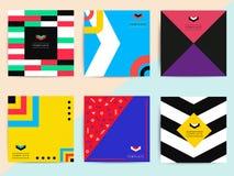 Set jaskrawy kolorowy modny tło pokryw projekt Wektor g Zdjęcia Stock