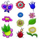 Set jaskrawy kwiaty Zdjęcie Stock