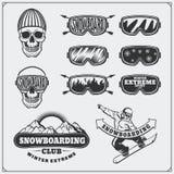 Set jazda na snowboardzie ekstremum etykietki, emblematy, odznaki i projektów elementy, Rocznik przygody halni symbole royalty ilustracja