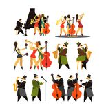Set of jazz bands Stock Images