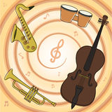 Set of jazz instruments. Set of jazz music instruments. Color vector illustrations Stock Photography