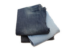 Set of jeans isolated over white Royalty Free Stock Photos