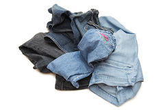 Set of jeans isolated over white Royalty Free Stock Photo