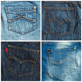 Set of jeans pockets backgrounds Royalty Free Stock Image