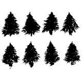 Set jedlinowego drzewa sylwetki Czarne grunge choinki Akwareli świerczyny odizolowywać na białym tle wektor Ilustracja Wektor