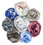 Set jedwabniczy scarves kojarzący wzrastał Zdjęcie Royalty Free