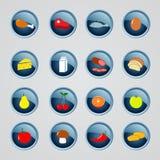 Set jedzeń indredients ikony Zdjęcie Stock