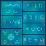 Set jedzenie cienkie kreskowe ikony dla sieci i wiszącej ozdoby Fotografia Stock