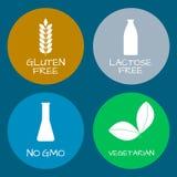 Set jedzenie etykietki - allergens, GMO uwalniają produkty Karmowy intolera Fotografia Royalty Free