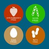 Set jedzenie etykietki - allergens, GMO uwalniają produkty Karmowy intolera Obraz Royalty Free