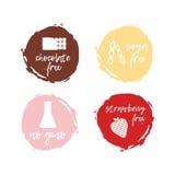 Set jedzenie etykietki - allergens Karmowa nietolerancyjność symbol zbiera Obrazy Stock