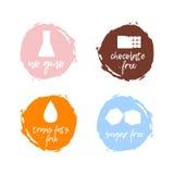 Set jedzenie etykietki - zdrowy jedzenie Karmowa nietolerancyjność symbolu coll Obraz Stock