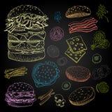 Set jedzenie i pikantność Obraz Royalty Free