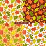 Set jesień bezszwowi wzory z ziarnami i liśćmi Obrazy Royalty Free
