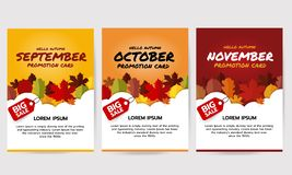 Set jesień sztandar z liśćmi cześć, Wrzesień, Październik, Listopad promoci karta Duży sprzedaż sztandaru szablon Płaski wektorow royalty ilustracja