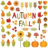 Set jesieni i spadku projekta elementy ilustracja wektor