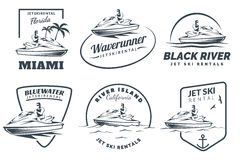 Set of Jet Ski rental logo, badges and emblems. Set of Jet Ski rental logo, badges and emblems  on white background. Water scooter with man Stock Images