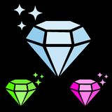 Set of jewel gem icon blue diamond, pink ruby and green emerald simple vector with sparkles, black background, luxury stock illustration
