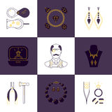 Set of jeweler profession linear icons. Vector concept of jewelry, handmade accessories, luxury items. Modern thin line style. Stock Photos