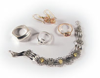 Set of jewellery. Spread on a flat sufrace Royalty Free Stock Images