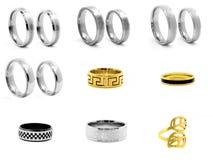 Set jewellery fotografie pierścienie 375 magna stal nierdzewna 04 Obrazy Stock