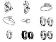 Set jewellery fotografie pierścienie 375 magna stal nierdzewna 04 Zdjęcie Royalty Free