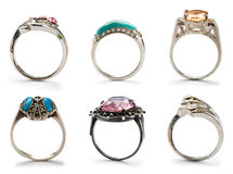 Set of jewellery rings Royalty Free Stock Images