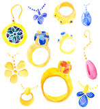 Set of jewelry. Water color illustration Stock Photos