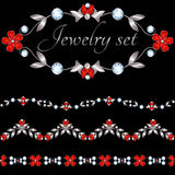 Set of jewelry borders. Jewelry borders and frames on black background Royalty Free Illustration