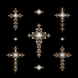 Set of jewelry Crosses Royalty Free Stock Images