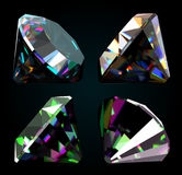 Set of jewelry gems on black background. Vector Royalty Free Stock Image