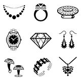 Set of jewelry icons. Collection of black-white icons for luxury industry. Qualitative vector (EPS-10) symbols about jewellery, accessories, fashion, luxury stock illustration