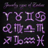 Set of jewelry icons with signs of Zodiac Royalty Free Stock Images