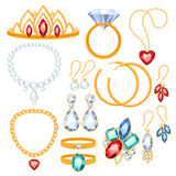 Set of jewelry items. Gold and gemstones precious accessorize Stock Photography