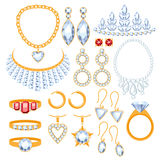 Set of jewelry items. Gold and gemstones precious accessorize Stock Photos