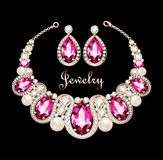 Set of jewelry necklace and earrings. Illustration of a set of jewelry necklace and earrings with a female with pink gemstones Royalty Free Stock Photography