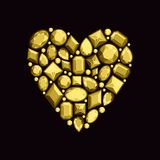 Set of jewels in the form of heart. Precious stones of gold col stock illustration
